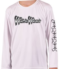 Youth Microfiber long sleeve upf 50 solar protection Wave Wear skull fish and Hooks back front and sleeve Print