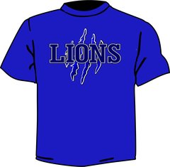 Lions t shirt with claw marks royal blule 100 % preshrunk cotton