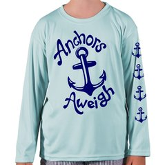 Youth Microfiber long sleeve upf 50 solar protection Anchors Aweigh front and sleeve Print
