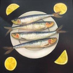 MIMI ROBERTS : SARDINES ON A PLATE