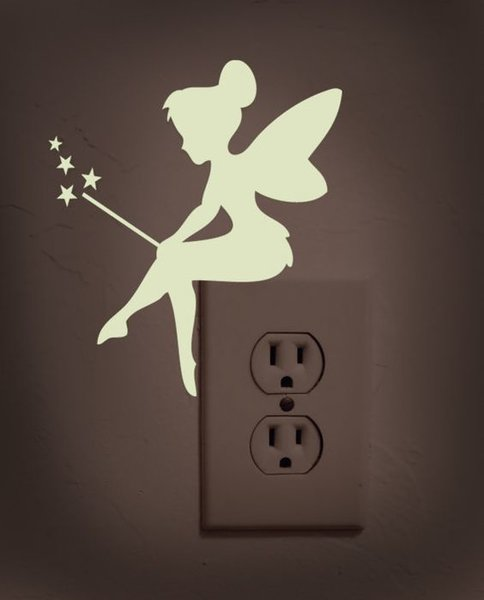 self adhesive wall art fairy sitting on light switch comes in various colours