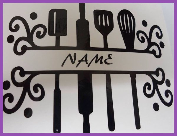 kitchen vinyl wall art/stickers/decals with family name
