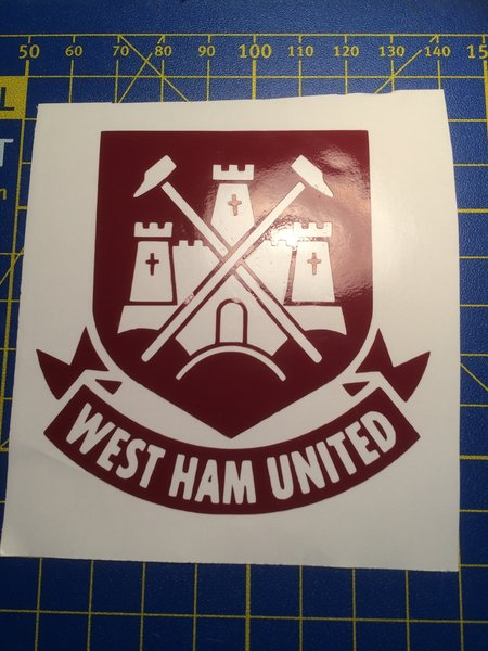 West ham united football club badge in self adhesive vinyl decal/wall art