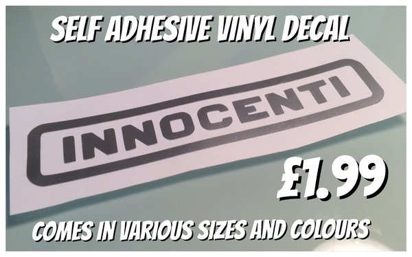 innocenti self adhesive vinyl decal comes in various colours and sizes