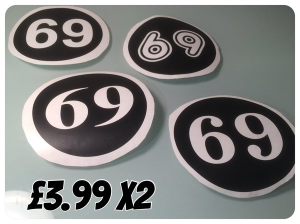 scooter number decals choose your font , numbers, colour and finish