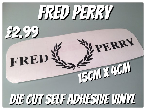 Fred perry scooter or motorbike decal/sticker various sizes colours and finishes