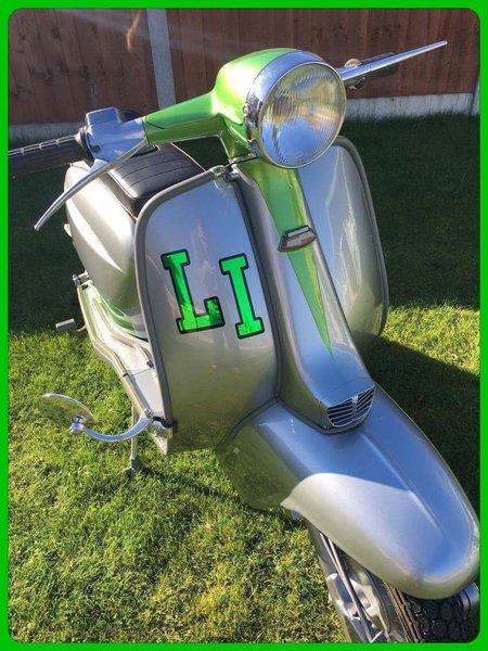 Lambretta LI self adhesive vinyl decal/sticker now comes in metallic coloured chrome