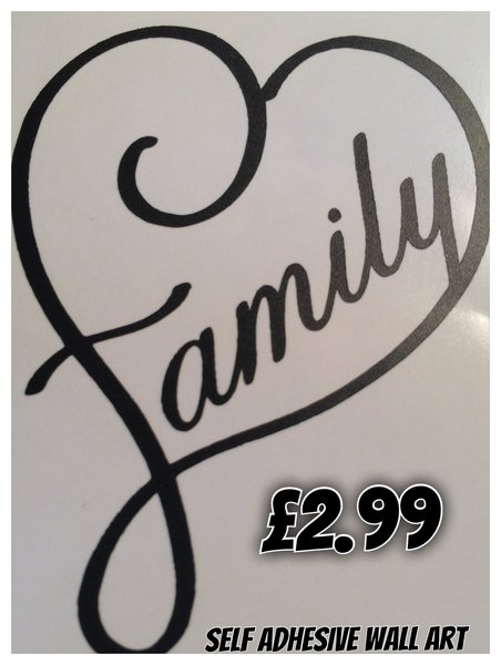 Family in the shape of a heart self adhesive vinyl decal,wall art