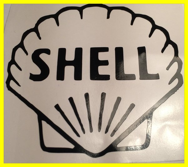 shell logo in self adhesive vinyl decal/sticker comes in various colours and sizes