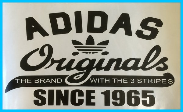 Adidas originals self adhesive vinyl decal comes in various colours finishes now in new chrome metallic vinyl