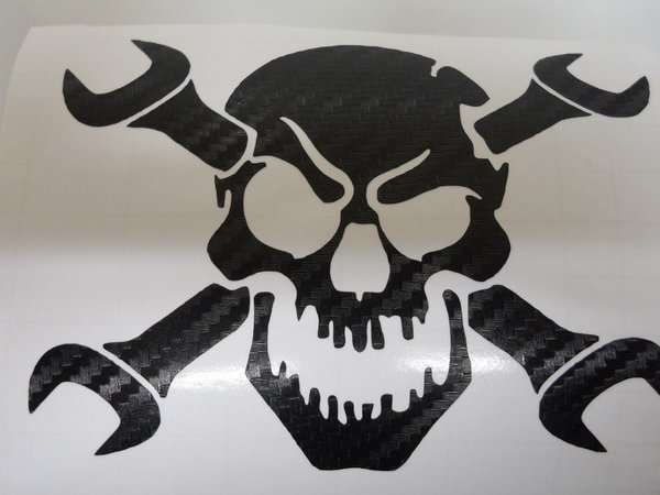 skull and spanners scooter or motorbike vinyl sticker decal comes in various colours