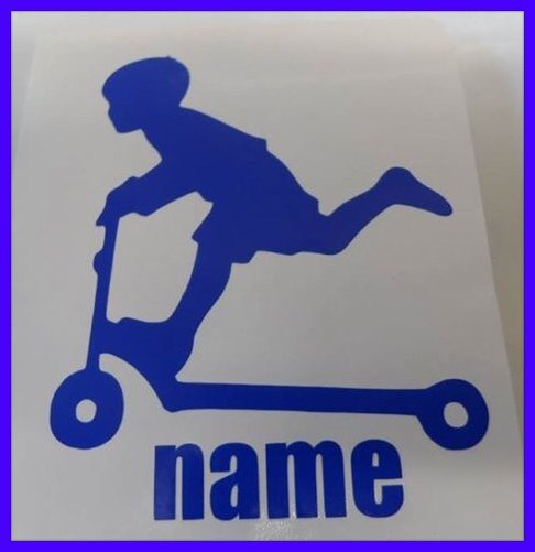 little boy on a scooter wall art/decal/sticker comes with personal name added