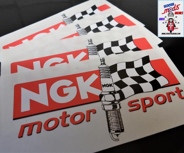 NGK sparkplug motorsport logo scooter sticker , scooter decal print and cut
