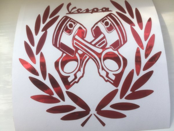 Vespa decals bespoke piston design comes in various sizes colours