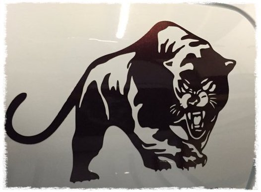 Scomadi scooter decal/sticker this die cut vinyl panther design comes in various sizes finishes and colours