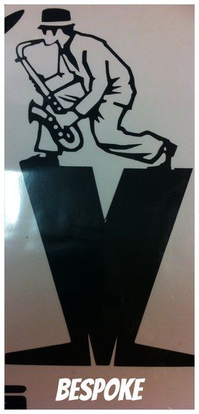 self adhesive vinyl design madness logo with a man playing saxophone