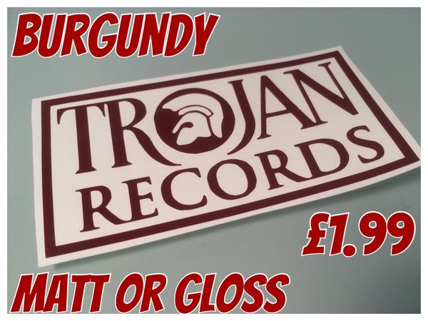 Trojan Records self adhesive vinyl decal/graphic/sticker in various sizes and colours