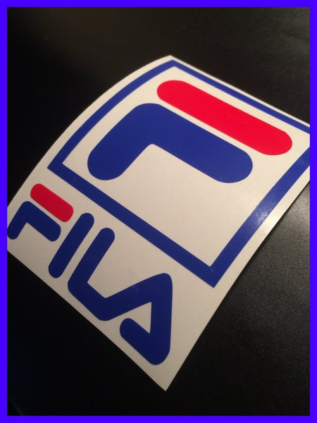 FILA logo scooter decal , sticker , transfers various sizes and finishes