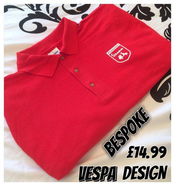 Bespoke vespa logo design on premium pique polo shirt