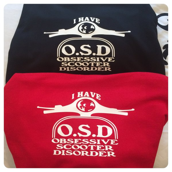 O.S.D (obsessive scooter disorder) Hoodie comes in red or black colours