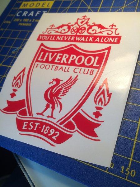 Liverpool fc logo,badge self adhesive vinyl decal/bedroom wall art comes in various sizes matt or gloss finish
