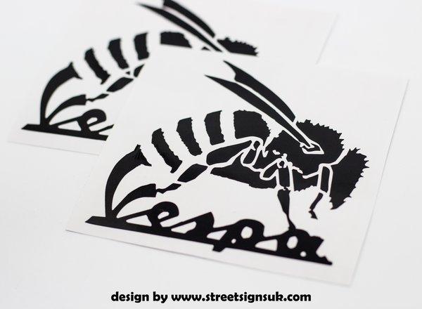 Bespoke vespa wasp design die cut self adhesive vinyl decals , stickers