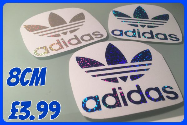 NEW !! Glitter effect self adhesive chrome adidas logo decal/sticker various sizes