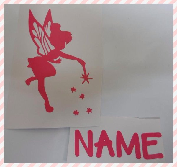 Girls bedroom wall art sticker/decal fairy with a wand and personal name
