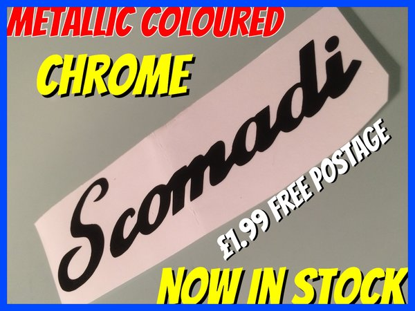 Scomadi decal self adhesive die cut vinyl various sizes colours and finishes