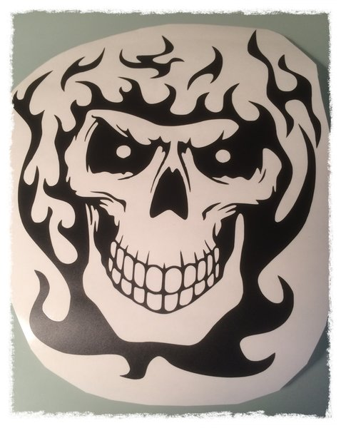 self adhesive vinyl decal/sticker skull with flames helmet or bike decal