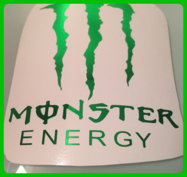 monster logo in metallic green chrome various sizes and other colours