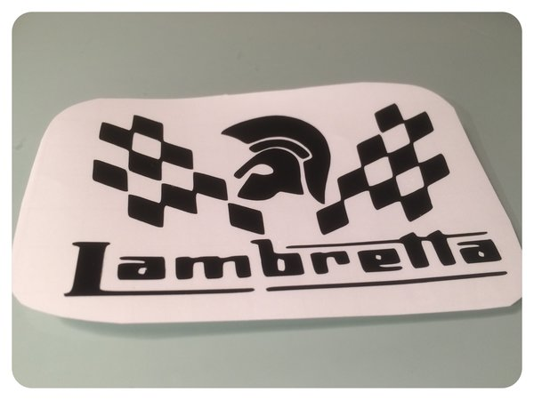 Lambretta trojan chequered self adhesive vinyl decal comes in varioud colours sizes and finishes