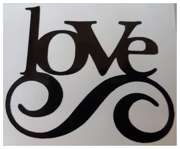vinyl wall art/decal/sticker shabby chic LOVE comes in various colours and sizes