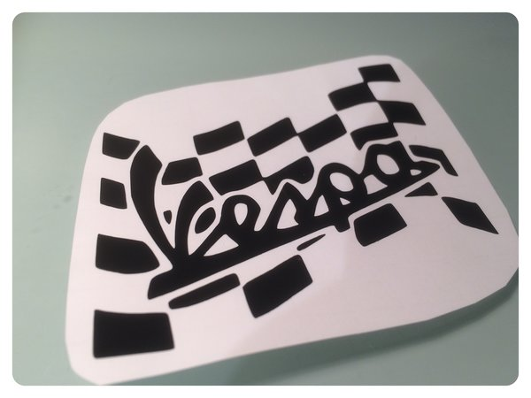 Vespa logo in chequred flag self adhesive vinyl/chrome decal/sticker/graphics