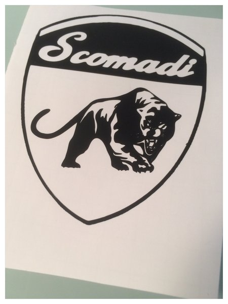 scomadi scooter decal badge comes in various colours finishes and sizes