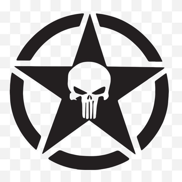 The Punisher Logo Skull In A Star Logo Self Adhesive Vinyl