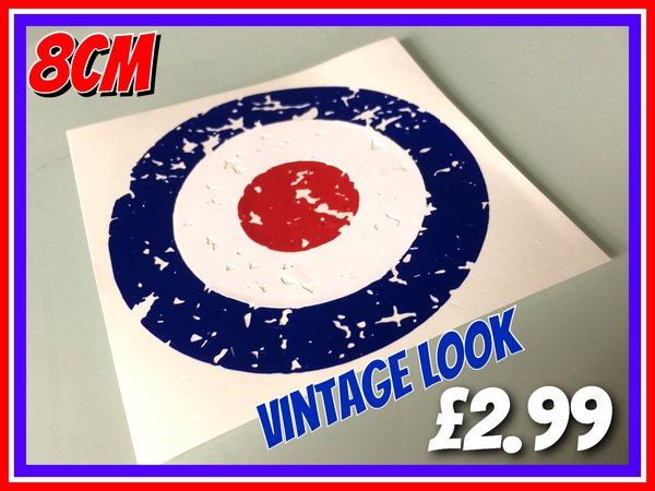 Vintage look mod target scooter decal sticker various sizes and colours