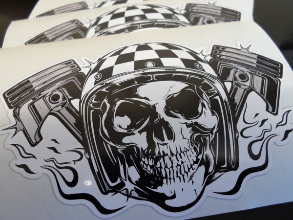 skull and pistons die print and cut self adhesive vinyl decal , sticker , wall art