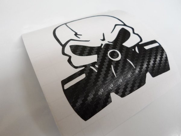 skull wearing gas mask self adhesive vinyl decal also comes coloured chrome