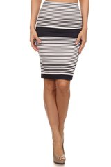 Stripe knit pencil skirt