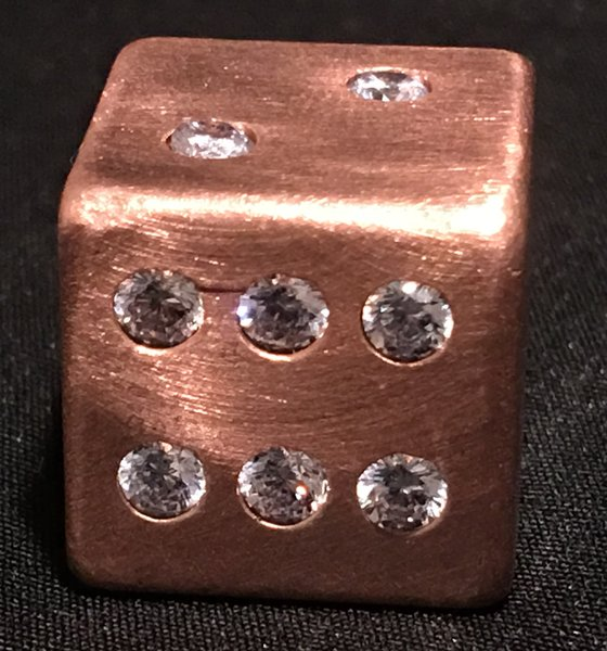 Copper Dice with 21 Inlaid Diamond CZ Stones
