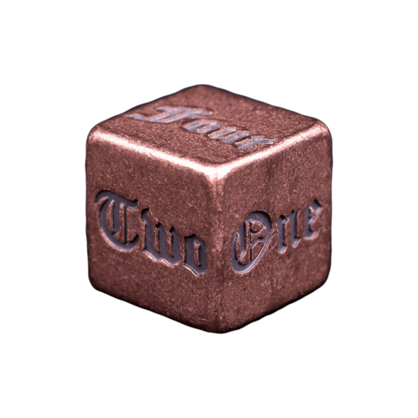 Solid Copper Dice - Spelled Numbered Design