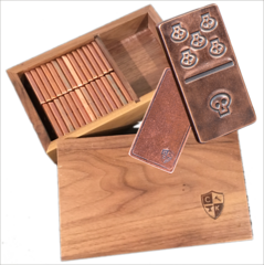 Solid Copper Domino Set - Skull Design - Double 6 Set