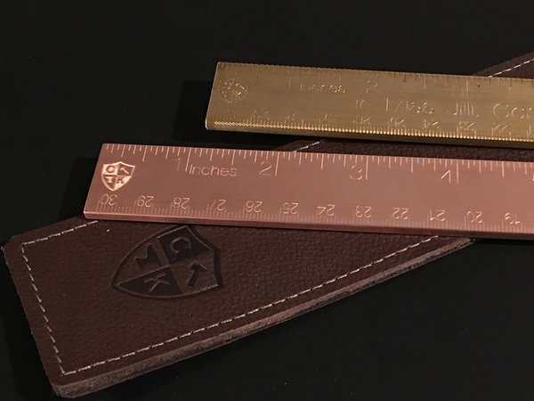 """12"""" Solid Copper Ruler with Leather Sheath"""