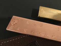"""6"""" Solid Brass Ruler with Leather Sheath"""