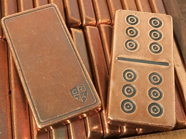 Solid Copper Domino Set - Traditional/Viking Design - Double 6 Set
