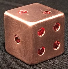 Copper Dice with 21 Inlaid Ruby CZ Stones