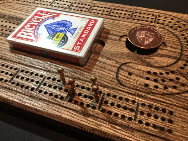 Solid Oak Cribbage Board - Three Lanes