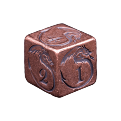 Solid Copper Dice - Dragon Design