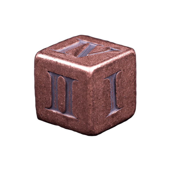 Solid Copper Dice - Roman Numeral Design